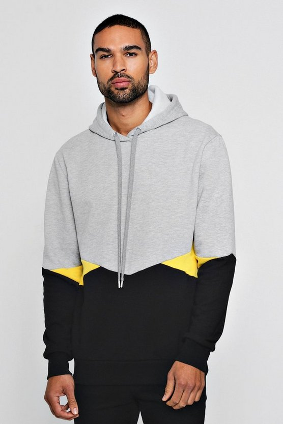Chevron Colour Block Over The Head Hoodie