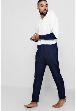 Mens White Colour Block Onesie