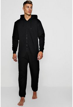 Mens Black Zip Through Onesie
