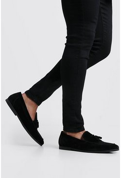 Black Faux Suede Tassel Loafer With Fringing
