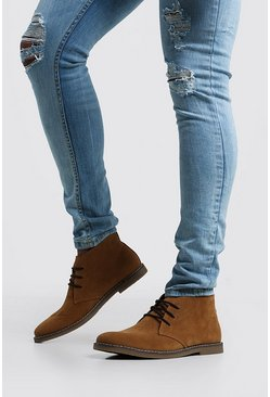 Gum Sole Faux Suede Desert Boot, Tan
