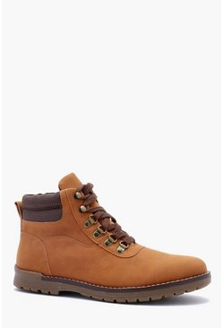 Mens Tan Faux Suede Hiking Boot