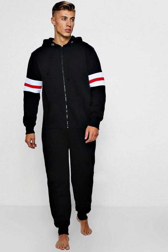 Hooded Onesie With Sport Stripe Sleeves
