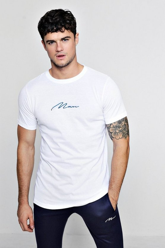 Navy MAN Signature Embroidered Longline T-Shirt