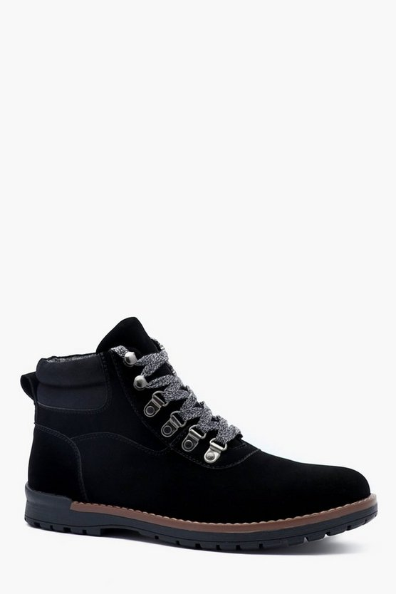 Black Faux Suede Hiking Boot