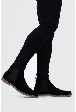 Herr Black Gum Sole Faux Suede Chelsea Boot