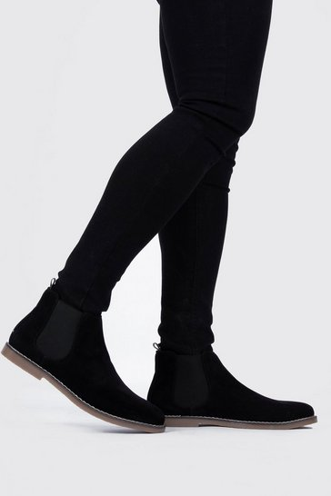 Black Gum Sole Faux Suede Chelsea Boot