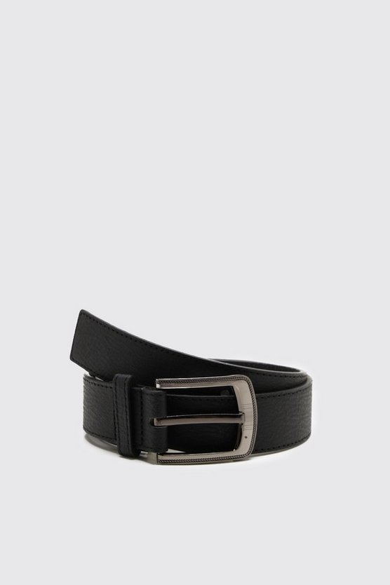 Large Buckle Bonded Leather Belt