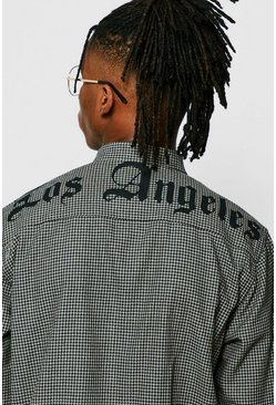 Mens Black Loose Fit Houndstooth Shirt With LA Print