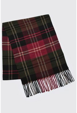 Mens Red And Green Check Tassel Scarf