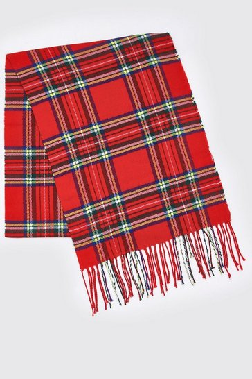 Mens Red Check Knitted Tassel Scarf
