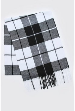 Mens Black & White Check Tassel Scarf