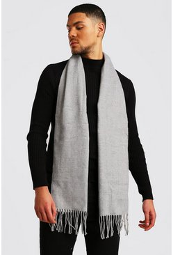 Mens Light grey Plain Knitted Tassel Scarf