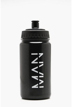 Man 500ml Sports Bottle, Black, Uomo