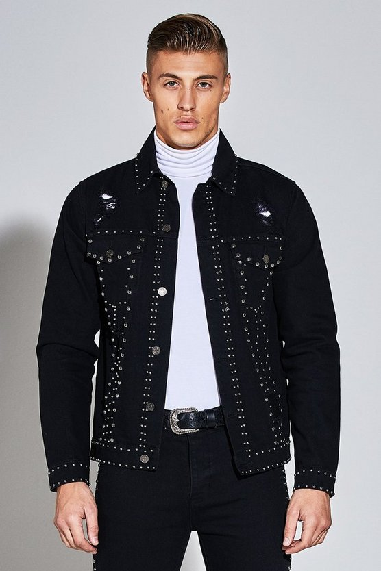 Premium Skinny Fit Denim Jacket with Studwork