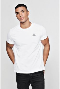 Mens White Eye Triangle Embroidered T-Shirt