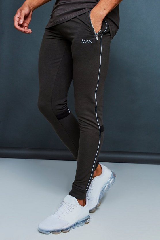 Muscle Fit Jogger With Reflective Piping
