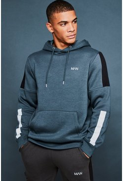 Mens Urban chic Over The Head Hoodie With Reflective Detail