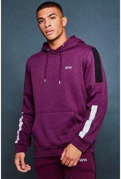 Mens Wine Over The Head Hoodie With Reflective Detail