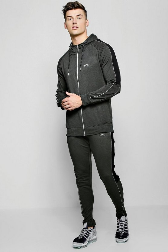 Muscle Fit Reflective Panelled Tracksuit