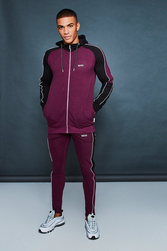 Hooded Muscle Fit Contrast Tracksuit