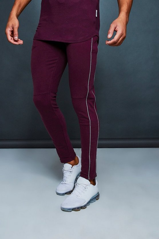 Mens Wine Muscle Fit Jogger With Reflective Piping