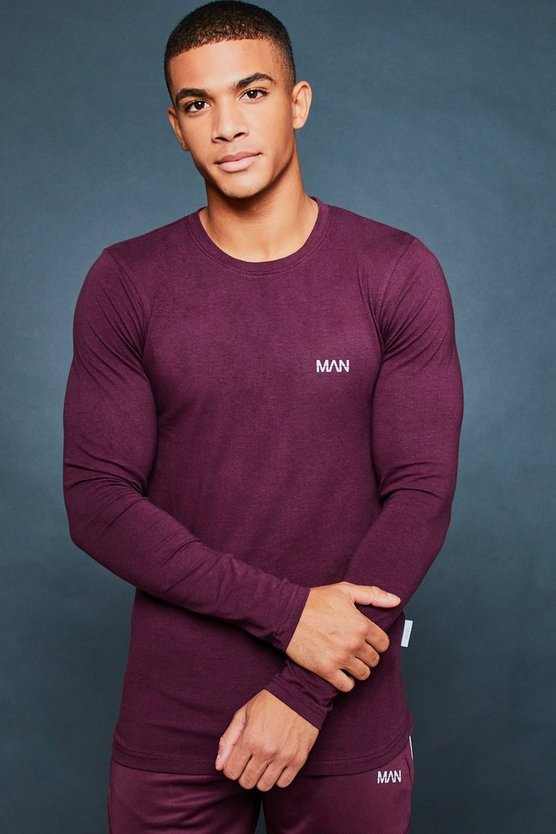 Muscle Fit Long Sleeve Reflective Print Tee