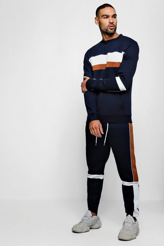 Spliced High Neck Sweater Tracksuit