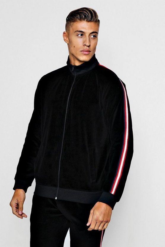 Mens Black Velour Funnel Neck With Metallic Tape