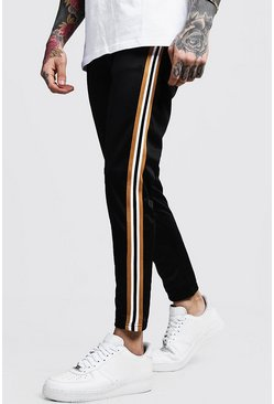 Mens Black Taped Tricot Cropped Joggers