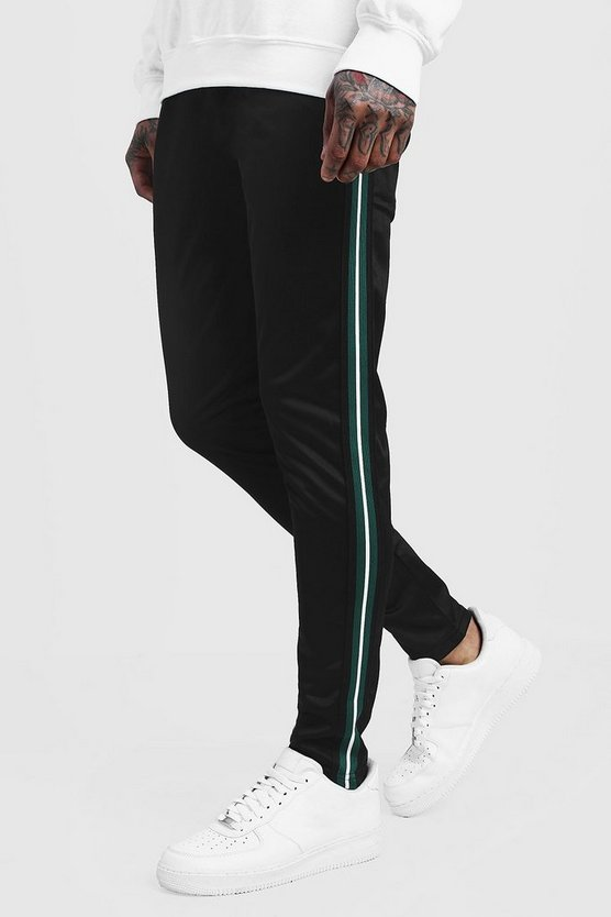 Mens Black Tricot Jogger With Tape Detail