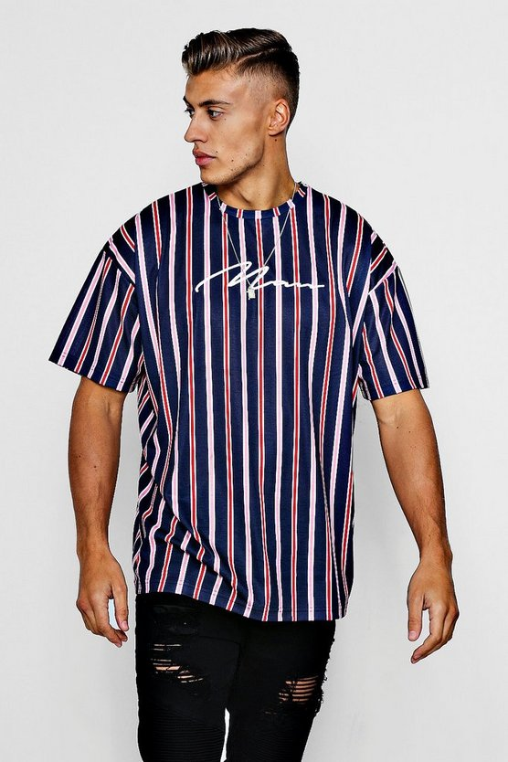 Navy MAN Signature Embroidered Oversized Stripe T-Shirt