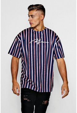 Herr Navy MAN Signature Embroidered Oversized Stripe T-Shirt