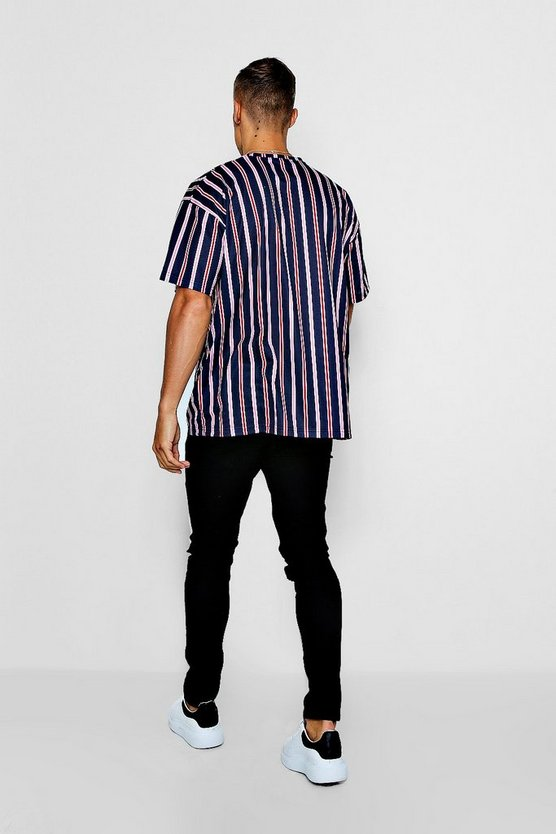 Oversized Stripe T Shirt With Man Signature Embroidery by Boohoo Man