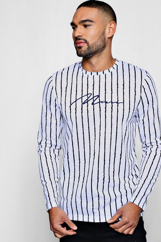 L/S Curve Hem Stripe T-Shirt with Man Embroidery
