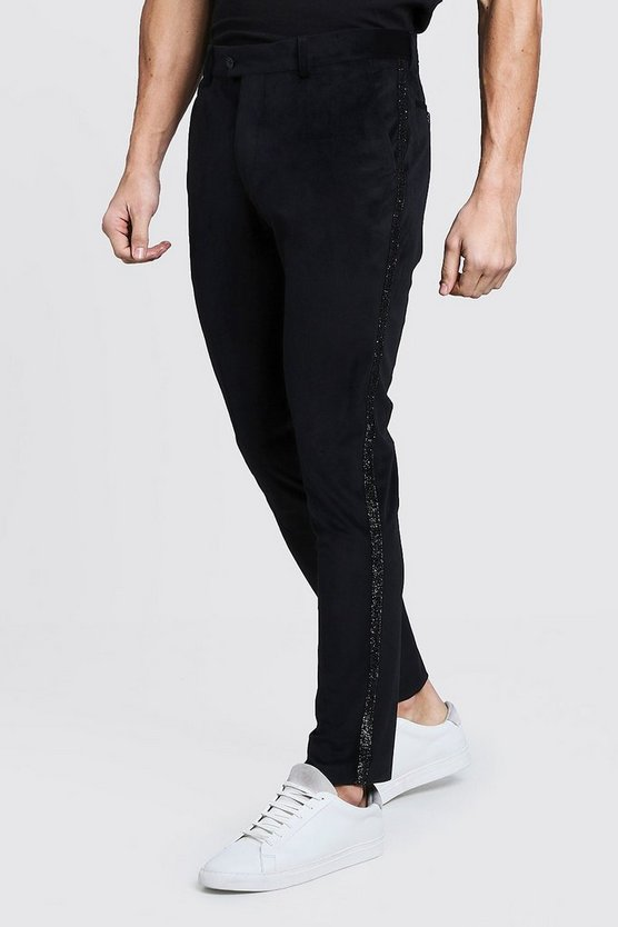 Premium Skinny Velour Pants With Side Tape