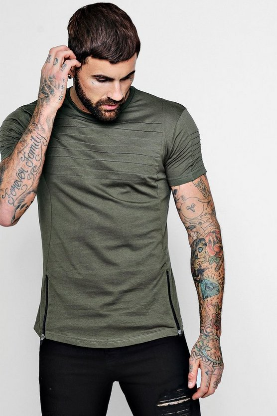 Zip Biker T-Shirt with Curve Hem