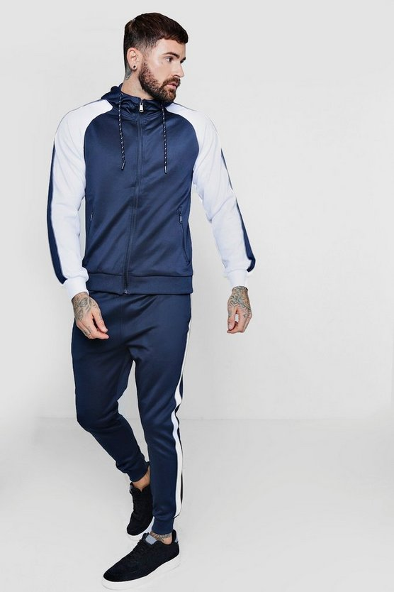 Zip Through Contrast Panel Tracksuit With Piping