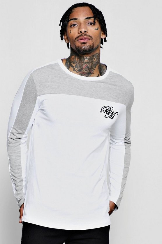 BM Colour Block Panel Long Sleeve T-Shirt