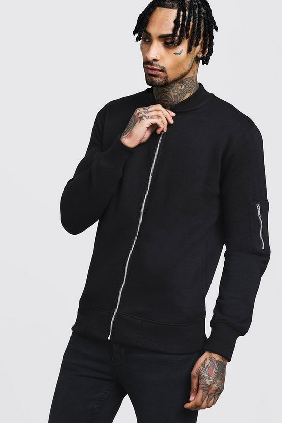 Mens Black Jersey MA1 Bomber Jacket