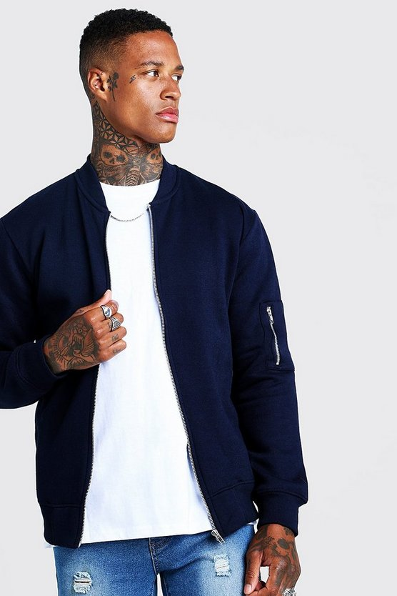 Mens Navy Jersey MA1 Bomber Jacket