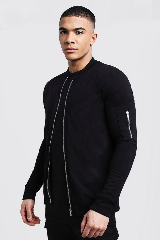 Black Muscle Fit MA1 Bomber Jacket