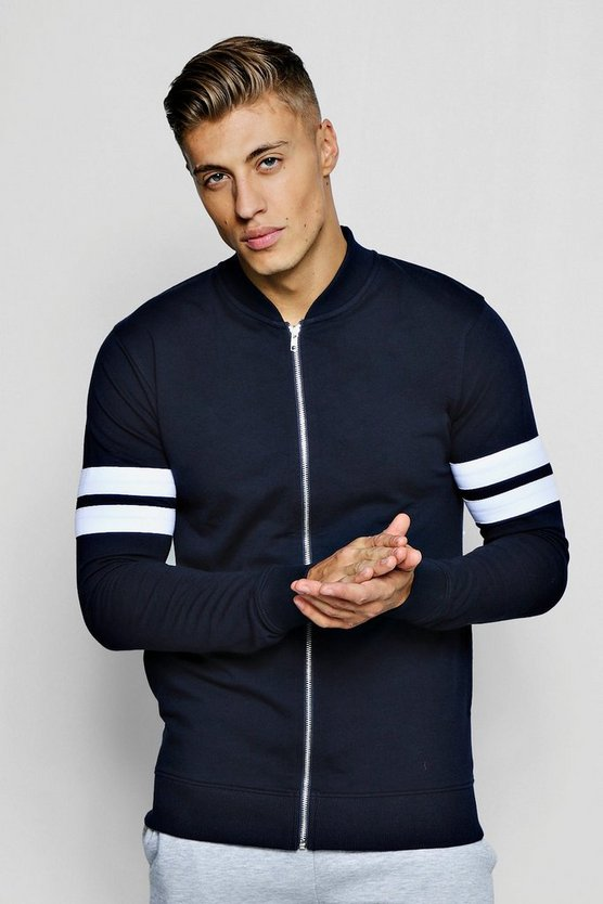 Muscle Fit Jersey Bomber With Panel Detail