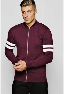 Mens Wine Muscle Fit Jersey Bomber With Panel Detail
