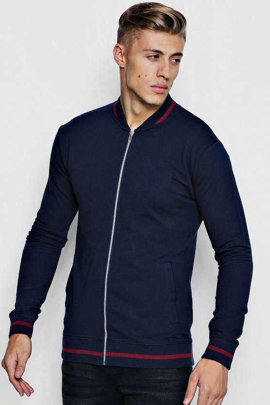 Muscle Fit Jersey Bomber With Sport Rib