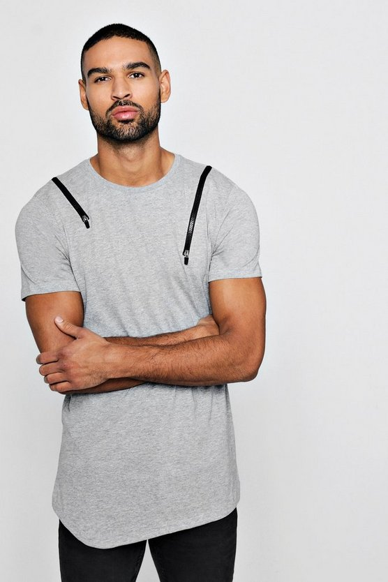 Zip Shoulder T-Shirt with Asymetric Hem
