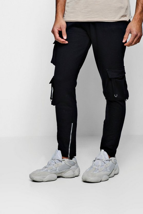 Cargo Jersey Joggers With Zips And D-Ring Detail
