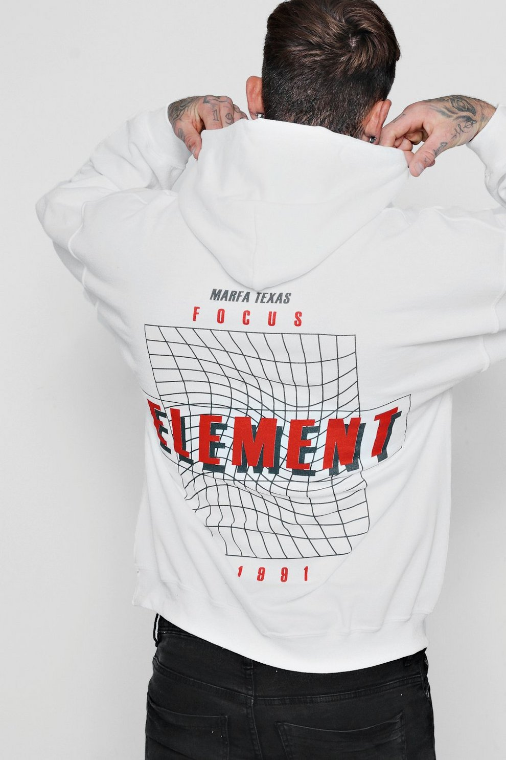 742575f7520 Oversized Back Print Elements Hoodie