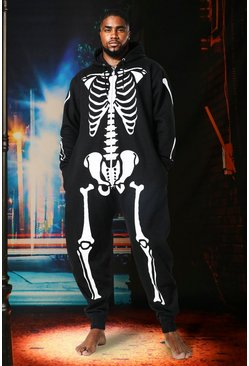 Herr Black Halloween Big & Tall Skeleton Onesie