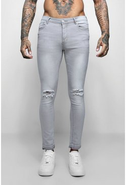 Super Skinny Raw Edge Distressed Jeans, Pale grey, Uomo